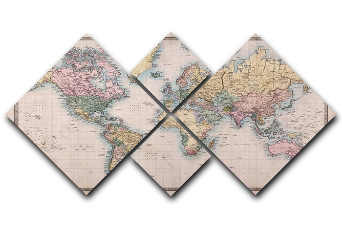 Original old hand coloured map 4 Square Multi Panel Canvas
