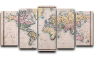Original old hand coloured map 5 Split Panel Canvas  - Canvas Art Rocks - 1