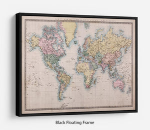Original old hand coloured map Floating Frame Canvas