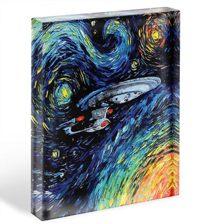 Painting USS Enterprise spaceship Acrylic Block - Canvas Art Rocks - 1