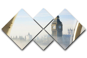 Palace of Westminster in fog 4 Square Multi Panel Canvas  - Canvas Art Rocks - 1