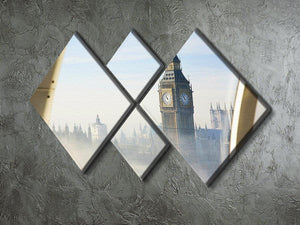 Palace of Westminster in fog 4 Square Multi Panel Canvas  - Canvas Art Rocks - 2