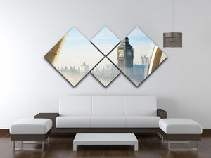 Palace of Westminster in fog 4 Square Multi Panel Canvas  - Canvas Art Rocks - 3