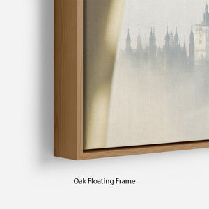 Palace of Westminster in fog Floating Frame Canvas