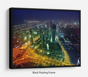 Panorama Dubai city at night Floating Frame Canvas