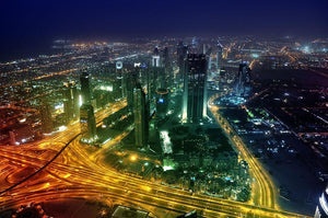 Panorama Dubai city at night Wall Mural Wallpaper - Canvas Art Rocks - 1
