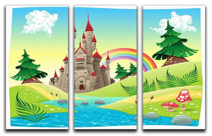 Panorama with castle 3 Split Panel Canvas Print