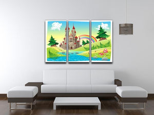 Panorama with castle 3 Split Panel Canvas Print - Canvas Art Rocks - 3