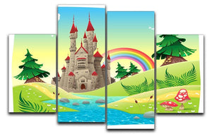 Panorama with castle 4 Split Panel Canvas  - Canvas Art Rocks - 1
