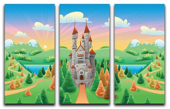 Panorama with medieval castle 3 Split Panel Canvas Print