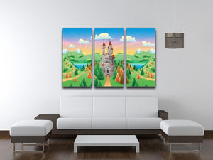 Panorama with medieval castle 3 Split Panel Canvas Print - Canvas Art Rocks - 3