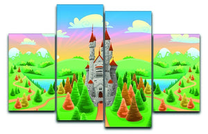 Panorama with medieval castle 4 Split Panel Canvas  - Canvas Art Rocks - 1
