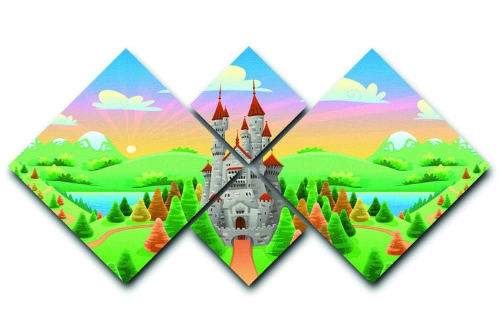 Panorama with medieval castle 4 Square Multi Panel Canvas