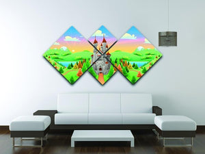 Panorama with medieval castle 4 Square Multi Panel Canvas - Canvas Art Rocks - 3