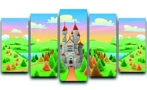 Panorama with medieval castle 5 Split Panel Canvas  - Canvas Art Rocks - 1