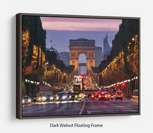 Paris Champs Elysees at night Floating Frame Canvas