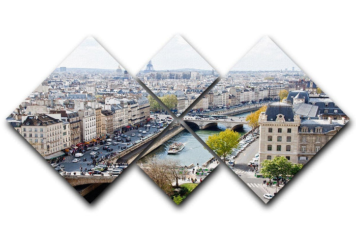 Paris skyline from the top of Notre Dame 4 Square Multi Panel Canvas