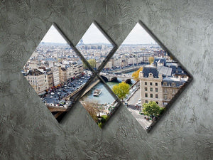 Paris skyline from the top of Notre Dame 4 Square Multi Panel Canvas  - Canvas Art Rocks - 2
