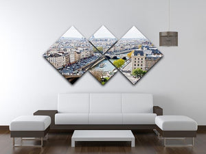 Paris skyline from the top of Notre Dame 4 Square Multi Panel Canvas  - Canvas Art Rocks - 3