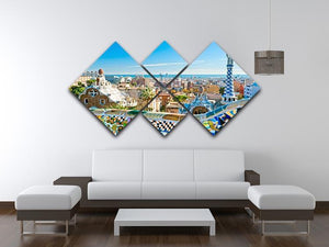 Park Guell 4 Square Multi Panel Canvas  - Canvas Art Rocks - 3