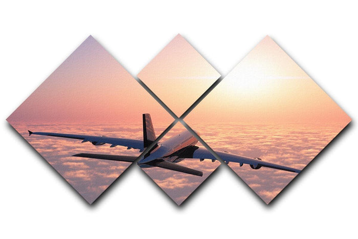 Passenger plane above the clouds 4 Square Multi Panel Canvas