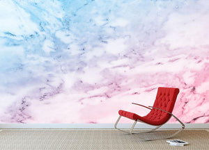 Pastel blue and pink marble Wall Mural Wallpaper - Canvas Art Rocks - 2