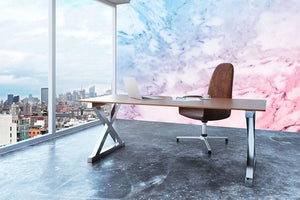 Pastel blue and pink marble Wall Mural Wallpaper - Canvas Art Rocks - 3