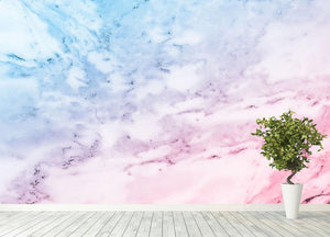 Pastel blue and pink marble Wall Mural Wallpaper - Canvas Art Rocks - 4