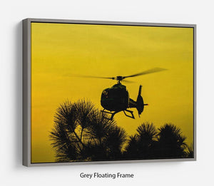 Patrol Helicopter flying in the sky Floating Frame Canvas