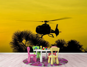 Patrol Helicopter flying in the sky Wall Mural Wallpaper - Canvas Art Rocks - 3