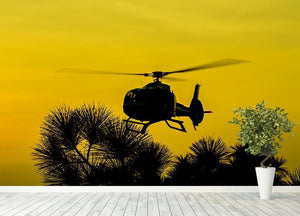 Patrol Helicopter flying in the sky Wall Mural Wallpaper - Canvas Art Rocks - 4