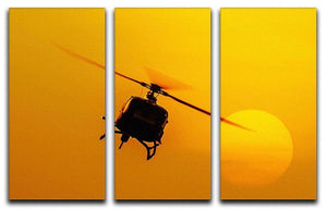 Patrol helicopter flying in sunset 3 Split Panel Canvas Print - Canvas Art Rocks - 1