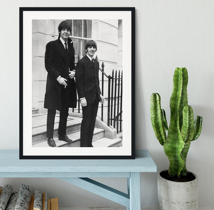Paul McCartney and Ringo Starr going to collect their MBEs Framed Print