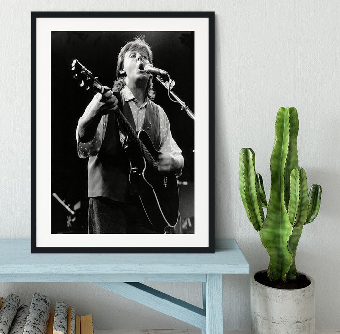 Paul McCartney on stage in 1989 Framed Print