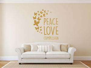 Peace, Love Compassion Wall Sticker - Canvas Art Rocks - 1