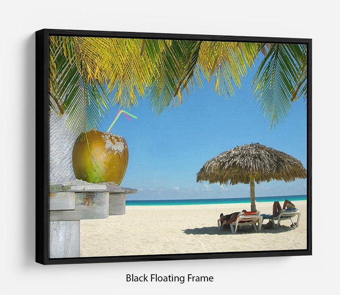 People relaxing under tropical huts with coconut Floating Frame Canvas