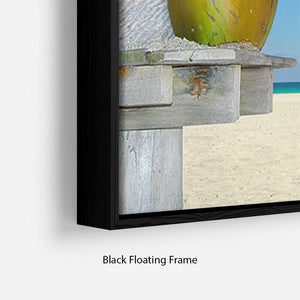 People relaxing under tropical huts with coconut Floating Frame Canvas - Canvas Art Rocks - 2