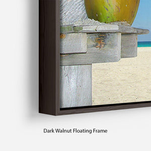 People relaxing under tropical huts with coconut Floating Frame Canvas - Canvas Art Rocks - 6