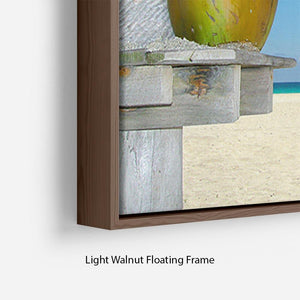 People relaxing under tropical huts with coconut Floating Frame Canvas - Canvas Art Rocks - 8