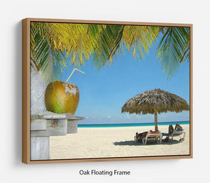 People relaxing under tropical huts with coconut Floating Frame Canvas - Canvas Art Rocks - 9