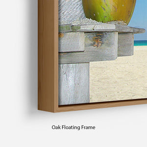 People relaxing under tropical huts with coconut Floating Frame Canvas - Canvas Art Rocks - 10
