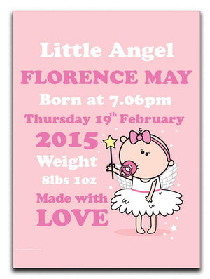 Goochicoo Personalised New Baby Angel Canvas Print - Canvas Art Rocks