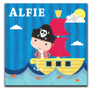 Personalised Children's Pirate Ship Boys Canvas Print - Canvas Art Rocks