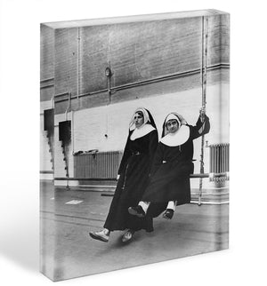 Peter Cook and Dudley Moore dressed as nuns Acrylic Block - Canvas Art Rocks - 1