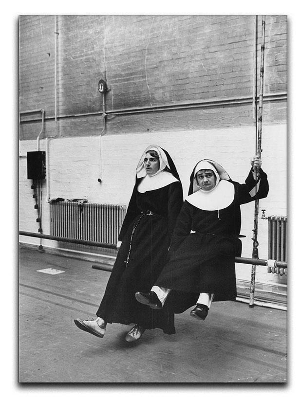 Peter Cook and Dudley Moore dressed as nuns Canvas Print or Poster