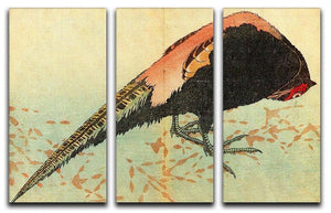 Pheasant on the snow by Hokusai 3 Split Panel Canvas Print - Canvas Art Rocks - 1