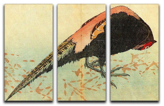 Pheasant on the snow by Hokusai 3 Split Panel Canvas Print