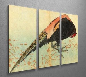Pheasant on the snow by Hokusai 3 Split Panel Canvas Print - Canvas Art Rocks - 2