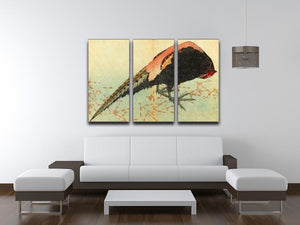 Pheasant on the snow by Hokusai 3 Split Panel Canvas Print - Canvas Art Rocks - 3