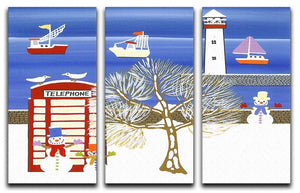 Phone box in winter by Gordon Barker 3 Split Panel Canvas Print - Canvas Art Rocks - 1